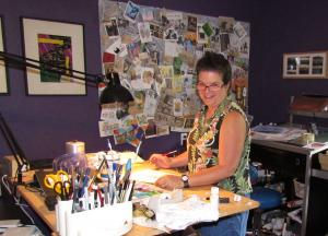 The artist in her studio